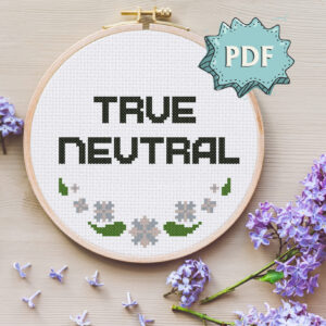 True Neutral cross stitch pattern