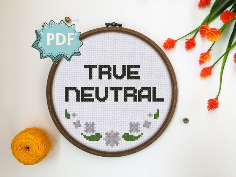 True Neutral cross stitch pattern