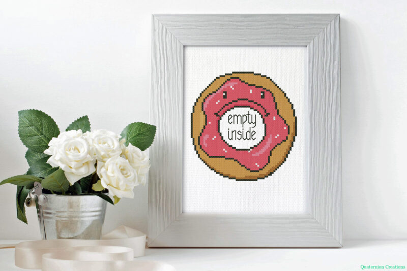 Depressed Donut cross stitch pattern