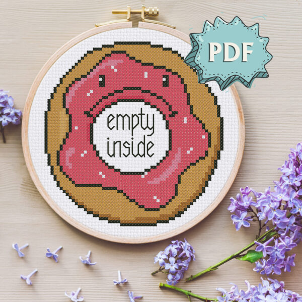 Depressed Donut (empty inside) cross stitch pattern