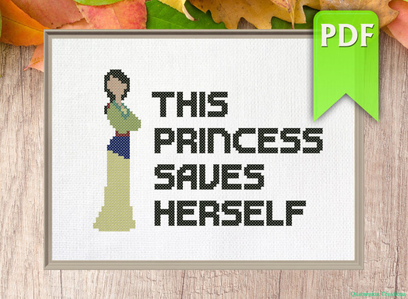 This princess saves herself (Mulan) cross stitch pattern