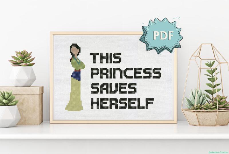 This princess saves herself (Mulan) cross stitch pattern