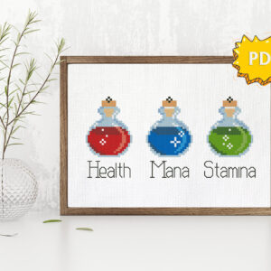 Health Mana Stamina cross stitch pattern for gamers