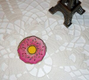 Acrylic Pink Frosted Sprinkled Donut Needle Minder