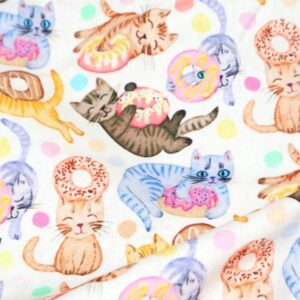 Cat and Donut Cotton Fabric