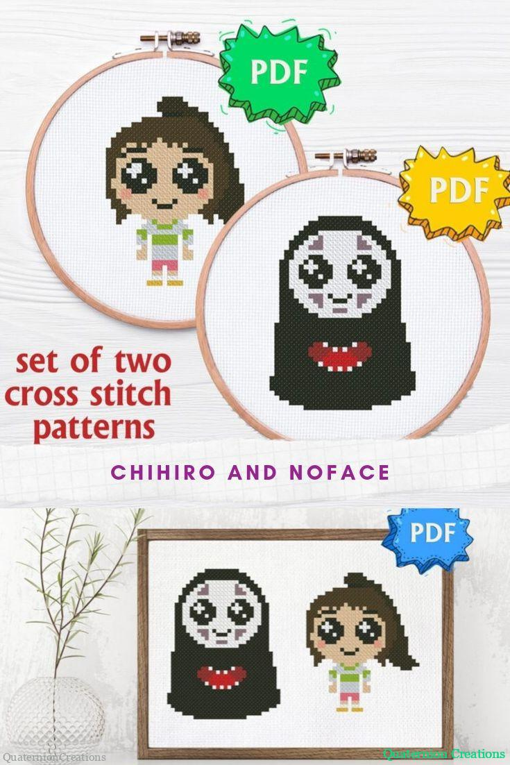 Chibi No Face and Chihiro, kawaii Spirited away cross stitch pattern