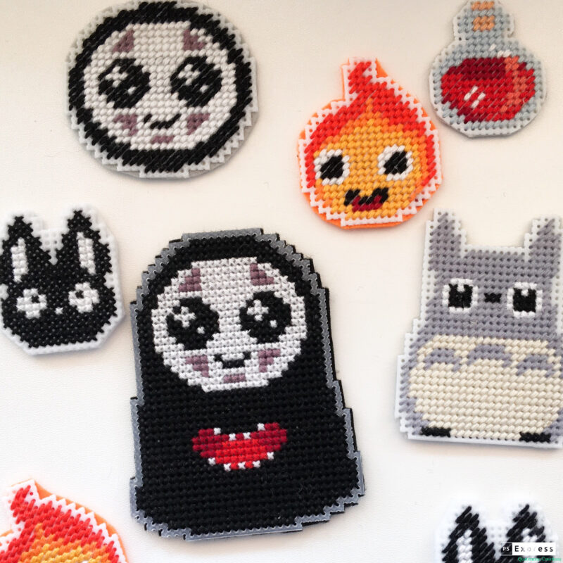 Cute Ghibli magnets cross stitch pattern