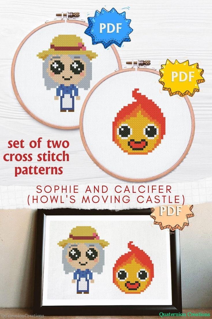 Sophie and Calcifer set of two cross stitch patterns