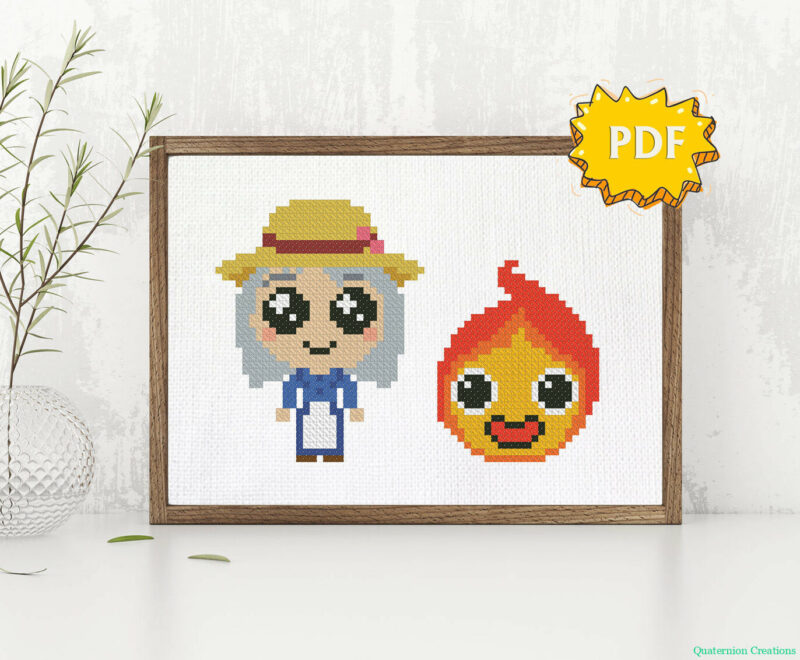 Howl's Moving Castle Sophie and Calcifer cross stitch pattern