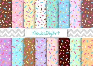 Donut Chunky Sprinkles Digital Printable Papers