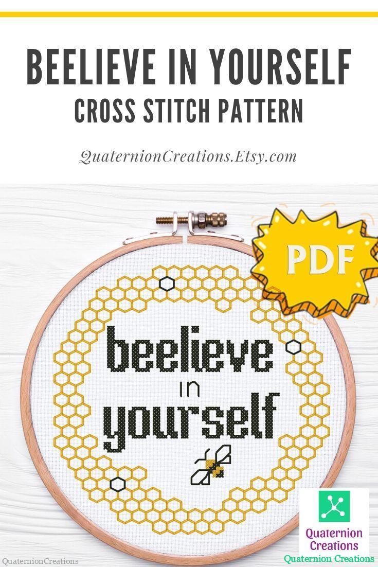 Beeliene in yourself cross stitch pattern