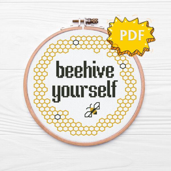 Beehive yourself cross stitch pattern