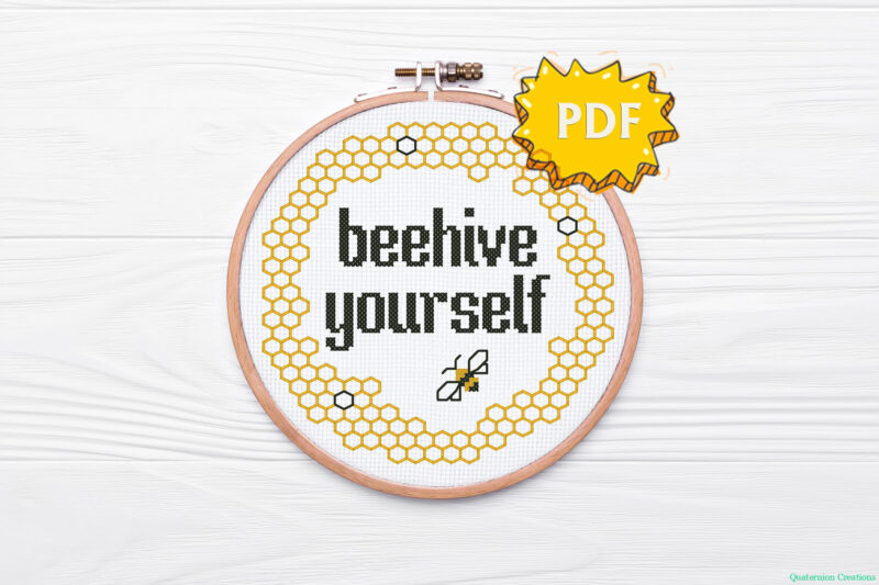 Beehive yourself cross stitch pattern