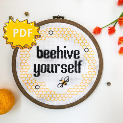 Beehive yourself modern subversive cross stitch pattern