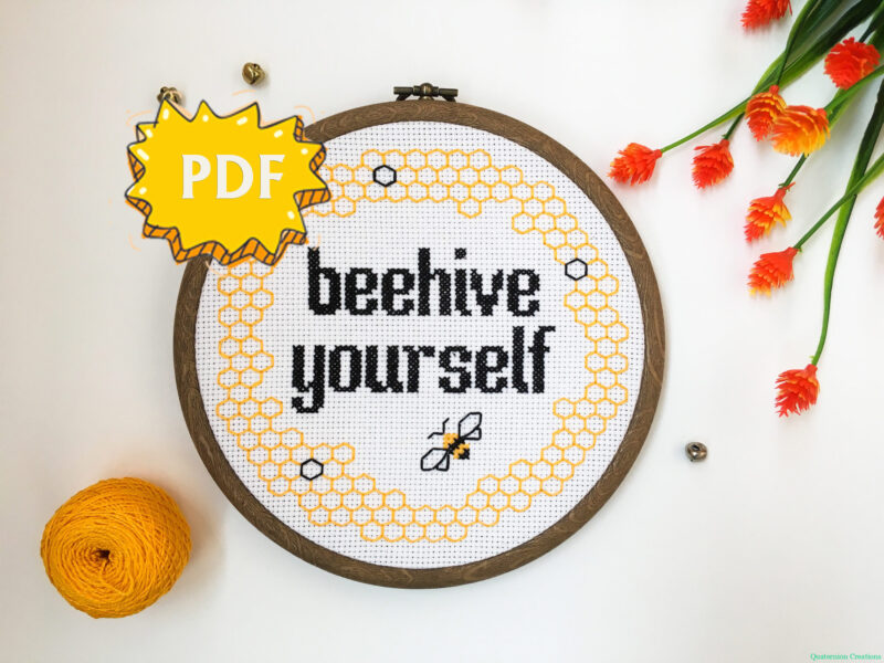 Beehive yourself modern subversive cross stitch pattern