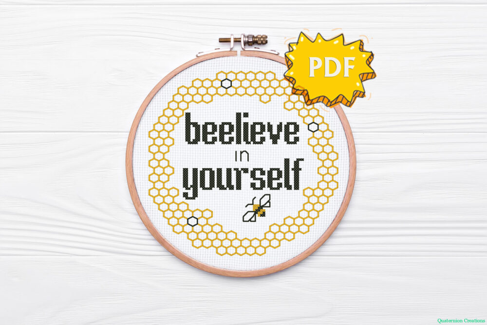 Beelieve in yourself cross stitch pattern