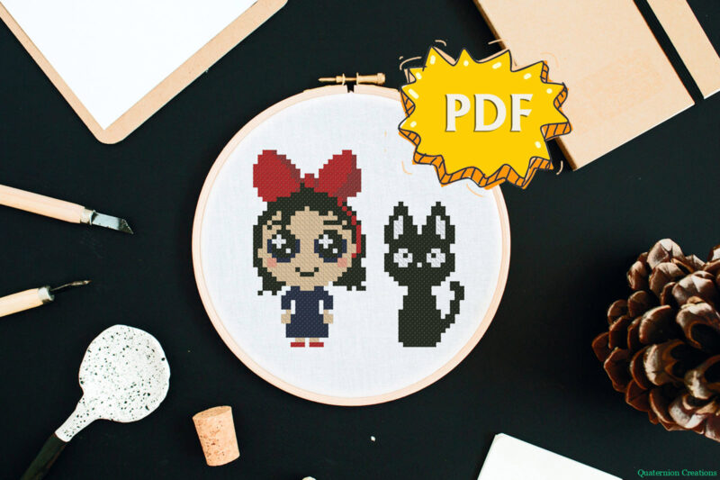 Kiki's delivery service Kiki and Jiji cat in chibi kawaii style cross stitch pattern