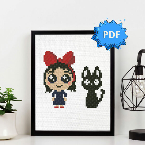 Kiki and Jiji the cat cross stitch pattern