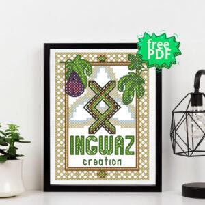 Rune Ingwaz free cross stitch pattern
