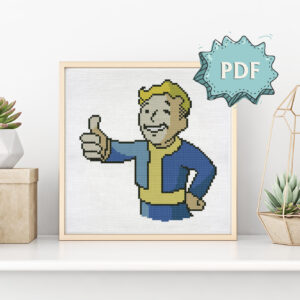 Vault Boy free cross stitch pattern