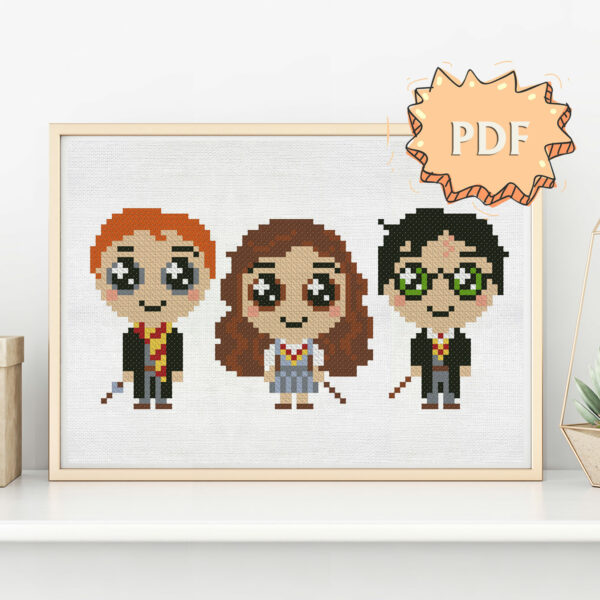 Harry, Ron, Hermione in a cute kawaii style - cross stitch pattern