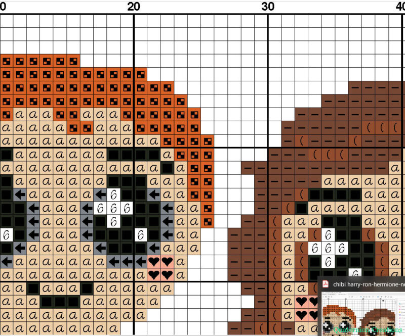 Harry, Ron, Hermione in a cute kawaii style - cross stitch pattern