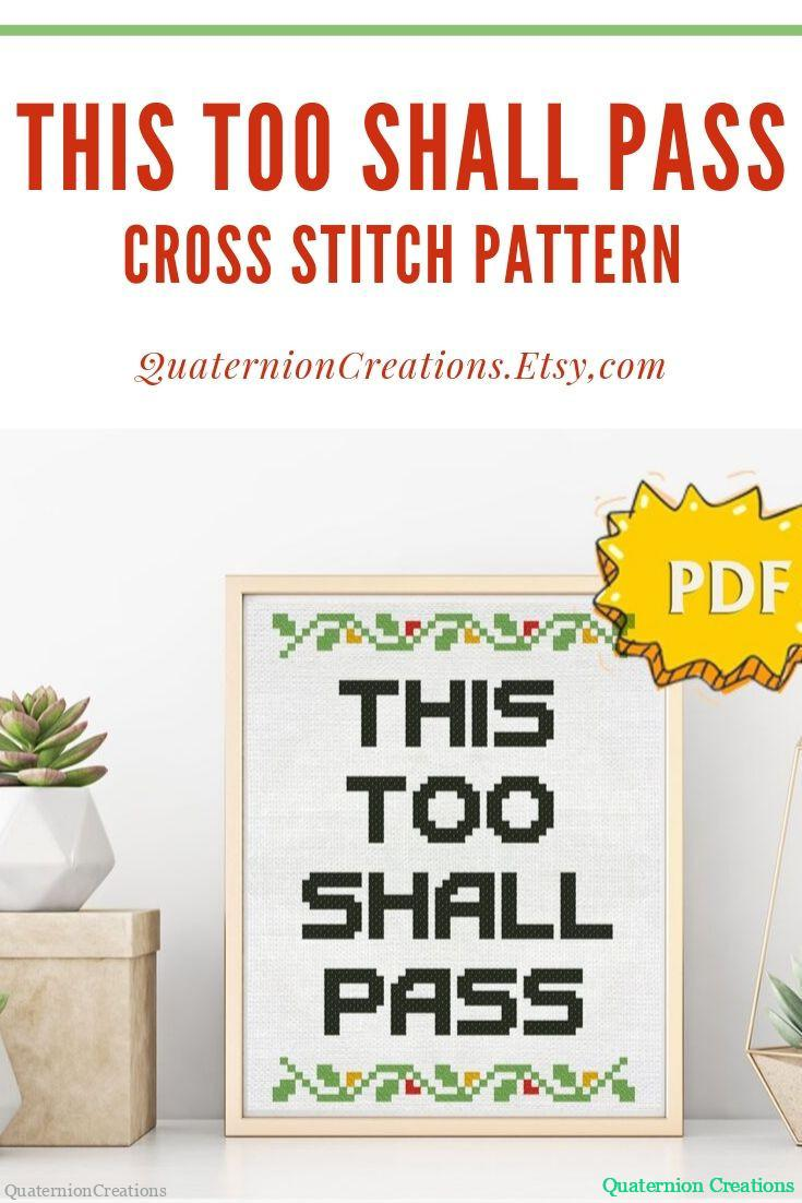 This too shall pass quote cross stitch pattern