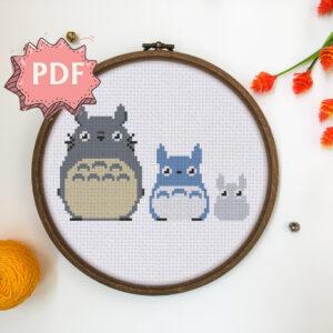 Totoro in Three sizes cross stitch pattern