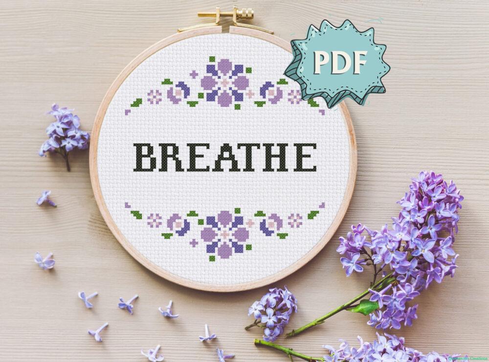 Breathe - mental health support cross stitch pattern