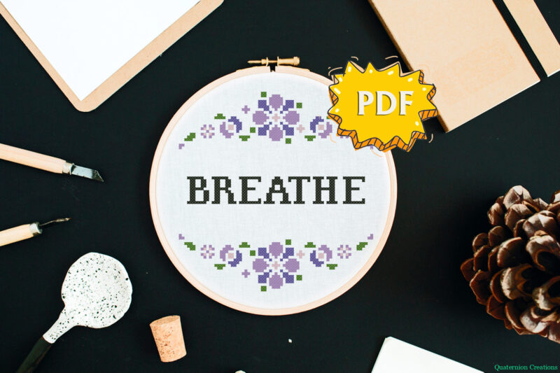 Breathe - mental health support cross stitch pattern