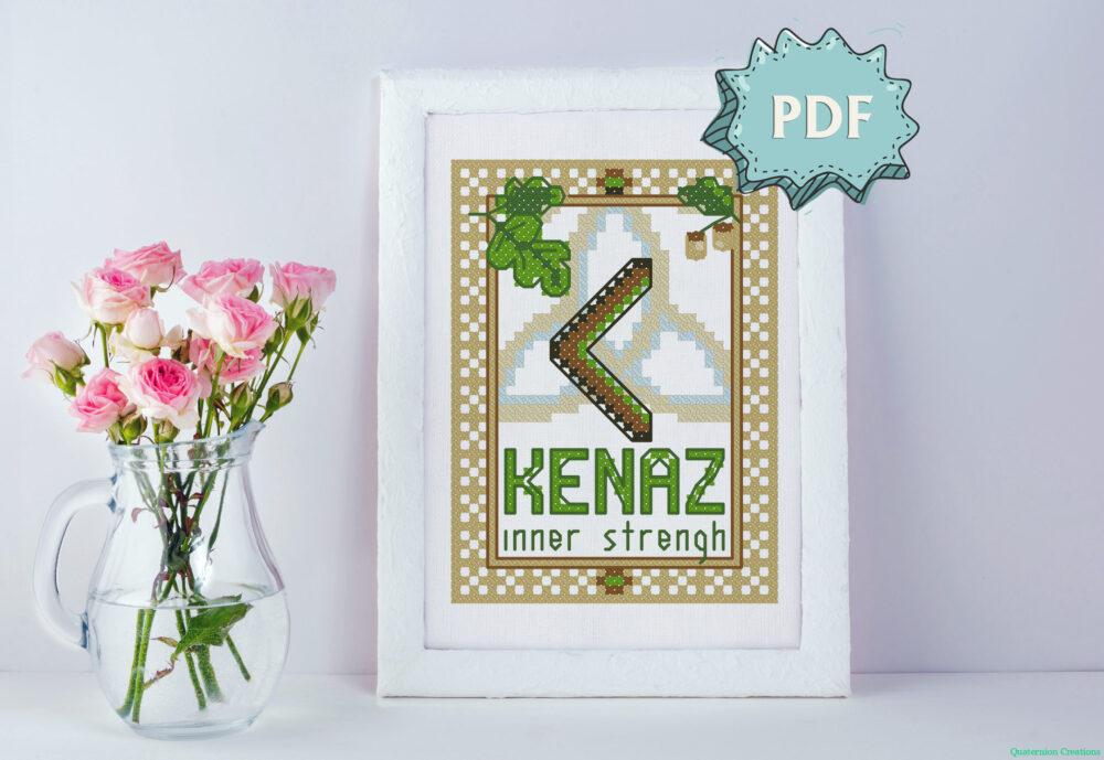 Kenaz Elder Futhark Rune cross stitch pattern