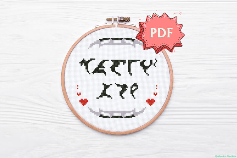 I love you in Klingon pIqaD geeky Valentines's Day romantic cross stitch pattern