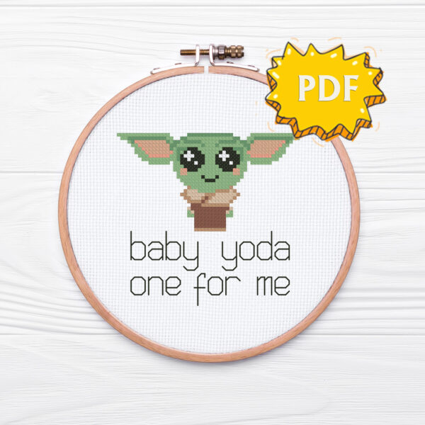 Baby Yoda one for me - easy cross stitch design - funny romantic crossstitching for Valentine's Day
