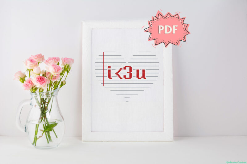 I Love You in math symbols - easy cross stitch design - romantic crossstitching for Valentine's Day