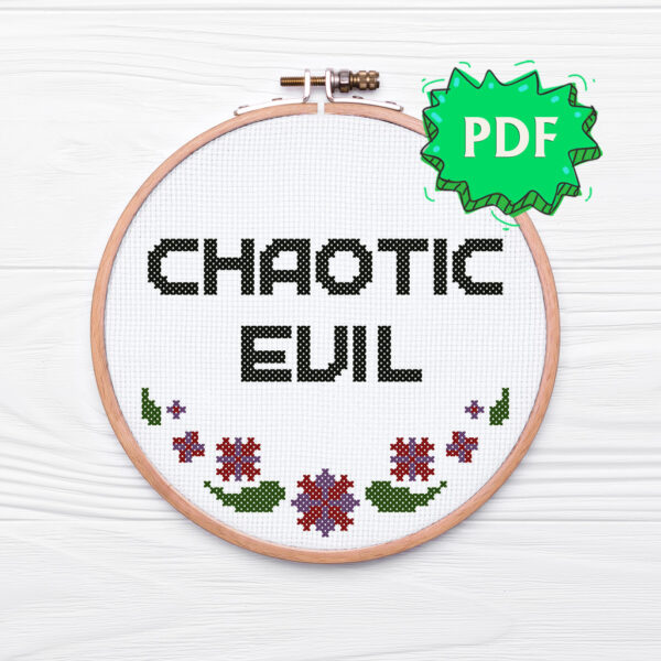Chaotic Evil - Morality alignment cross stitch pattern