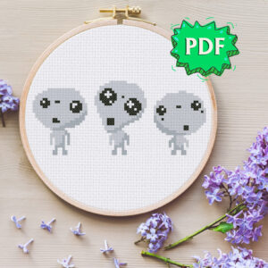 Chibi Kodama cross stitch pattern - spirits of the forest in cute kawaii style
