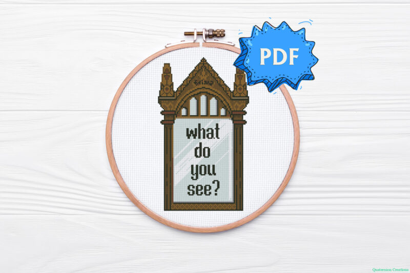 The Mirror of Erised (What do you see) Harry Potter inspired cross stitch pattern