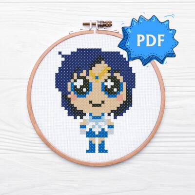Chibi Sailor Mercury cross stitch pattern
