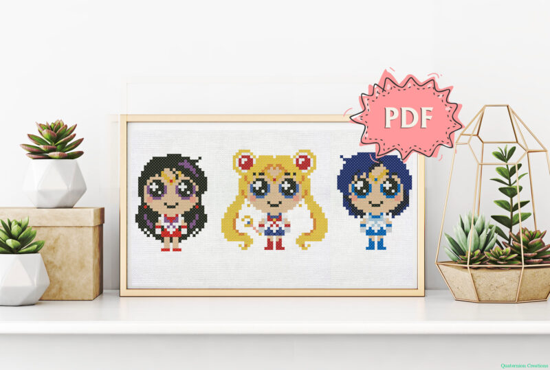 Chibi Sailor Moon, Mars, Mercury cross stitch pattern