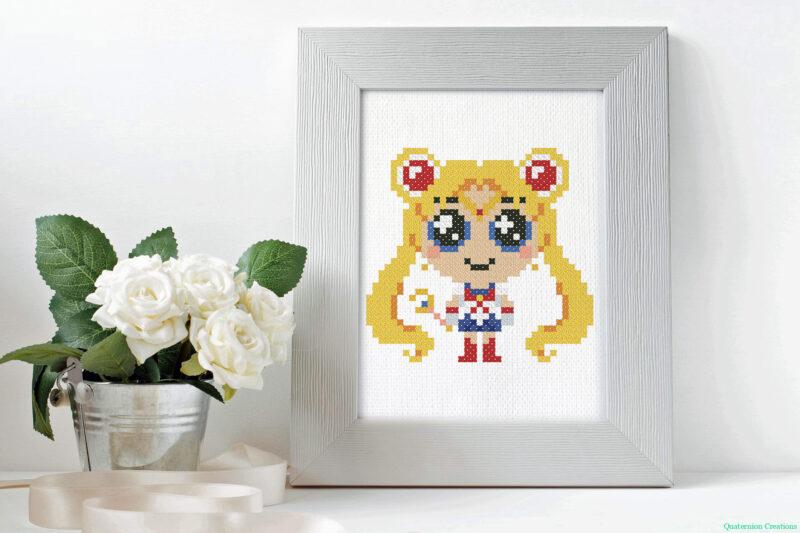 Chibi Sailor Moon cross stitch pattern