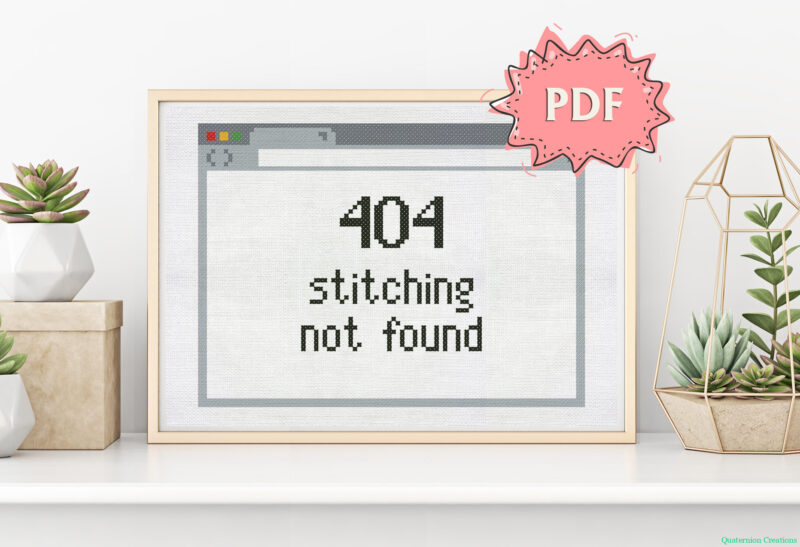 404 stitching not found - cross stitch pattern with a text within an Internet browser