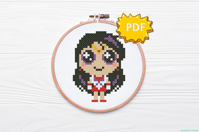 Little Sailor Mars (Rei Hino) in a cute kawaii style - a cross stitch pattern