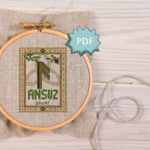 Ansuz Rune cross stitch pattern