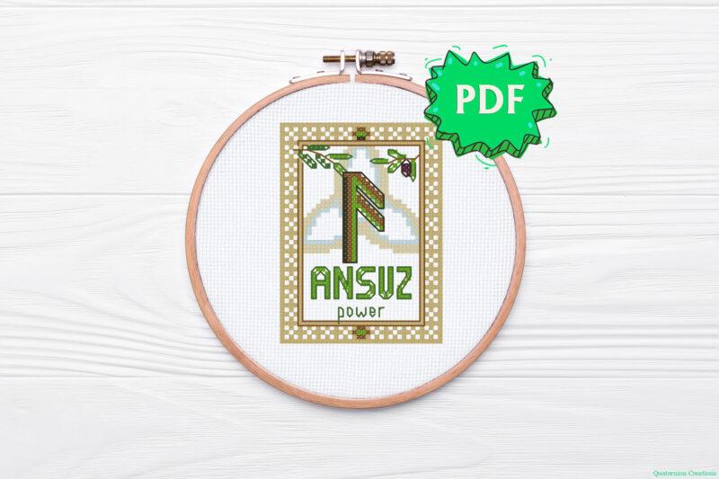 Ansuz Rune cross stitch pattern