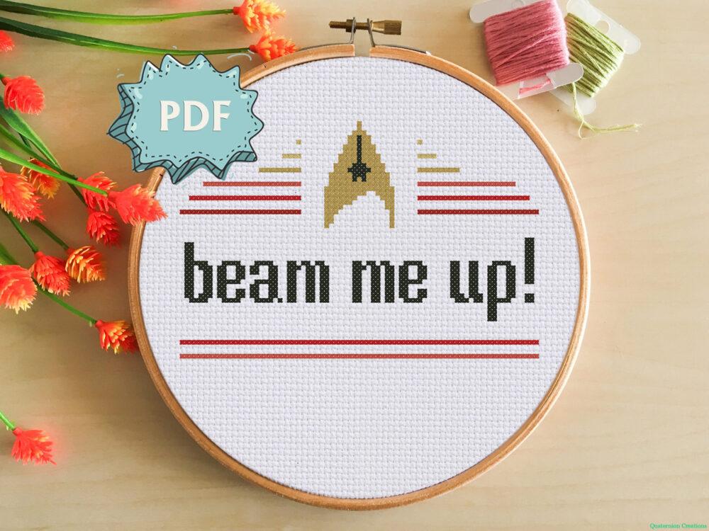 Beam me up - Star Trek inspired modern cross stitch pattern