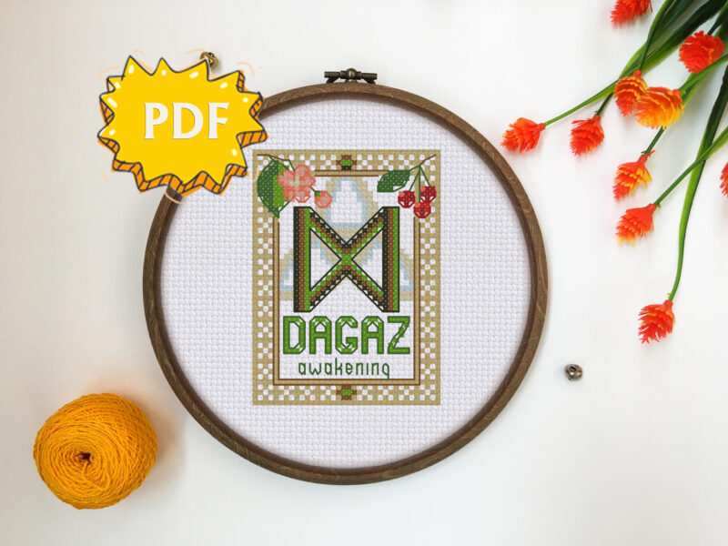 Dagaz Rune cross stitch pattern
