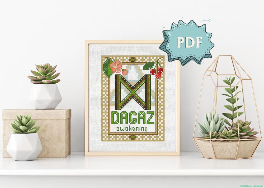 Dagaz Rune cross stitch pattern
