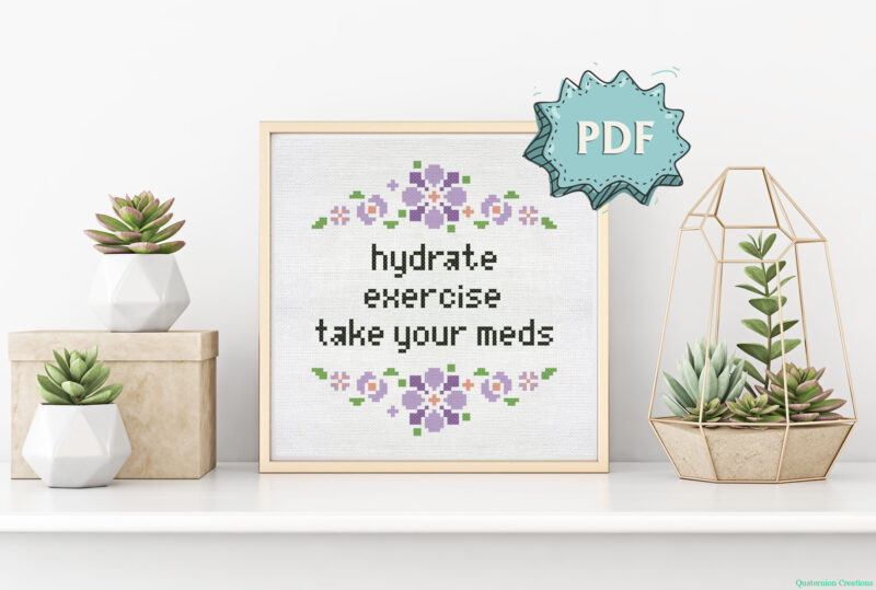 Hydrate - Exercise - Take your meds - cross stitch pattern