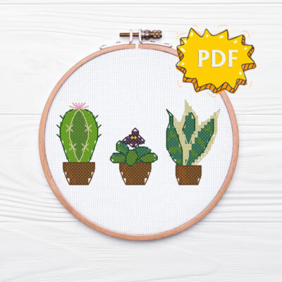Tiny plants cross stitch pattern - cactus, african violet, sansevieria - green thumb gifts stitching