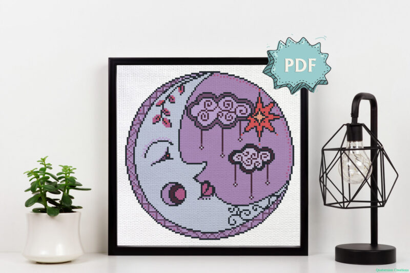 Purple Moon - beautiful modern cross stitch pattern - unique cross stitch design